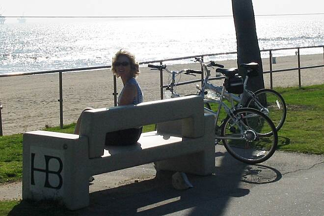 Huntington Beach Bicycle Trail Huntington Beach Bicycle Trail Plenty of benches to enjoy the beautiful ocean vistas.