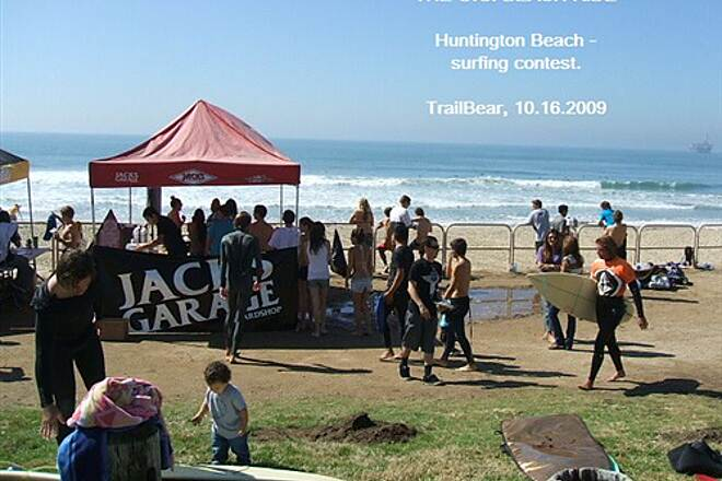 Huntington Beach Bicycle Trail THE O.C. BEACH RIDE HB = surfers.  Here is a surfing contest.
