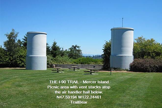 I-90 Trail THE I-90 TRAIL - Mercer Island A picnic area with vent stacks
