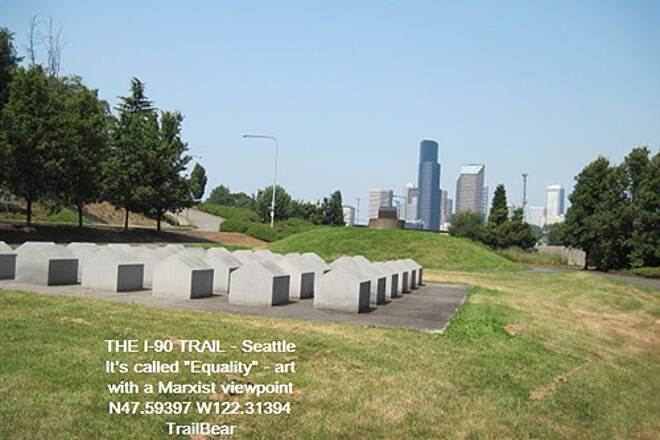 I-90 Trail THE I-90 TRAIL - Seattle Public art: 'Equality'.  So are FEMA trailers.