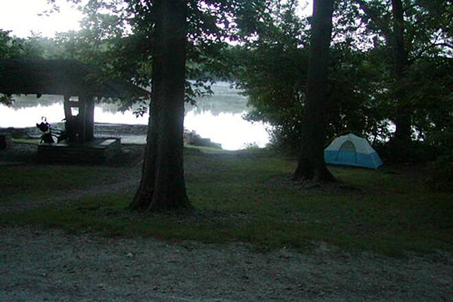 Illinois & Michigan Canal State Trail I & M Canal Trail Campsite, between the canal and path, and the Illinois River
