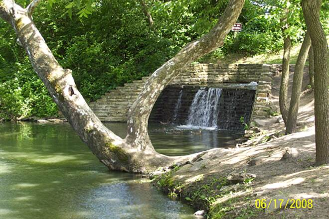 Illinois & Michigan Canal State Trail Gebhard Woods State Park Nice little waterfall along canal