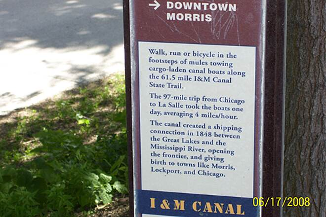 Illinois & Michigan Canal State Trail  Information marker along canal at Morris, IL