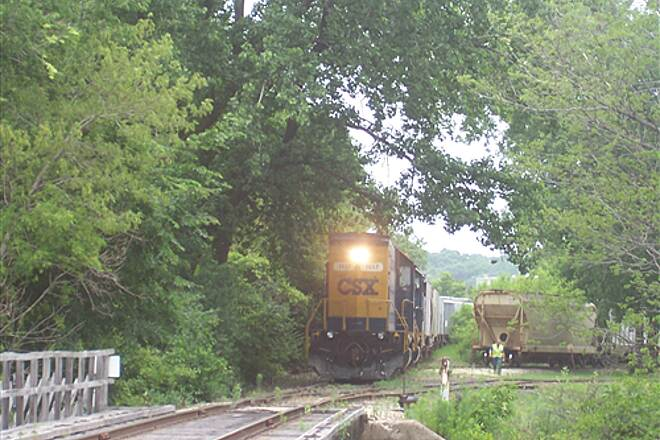 Illinois & Michigan Canal State Trail  CSX putting together a train on a rail yard along the path