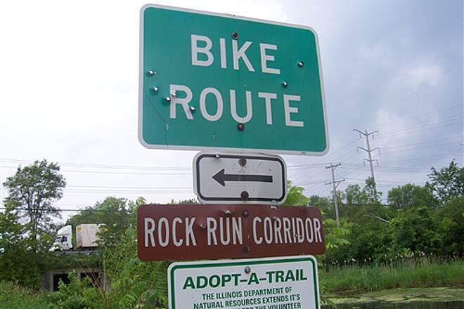 Illinois & Michigan Canal State Trail  Rock run trail takes you up to some fast food. sign has some bullet holes though...