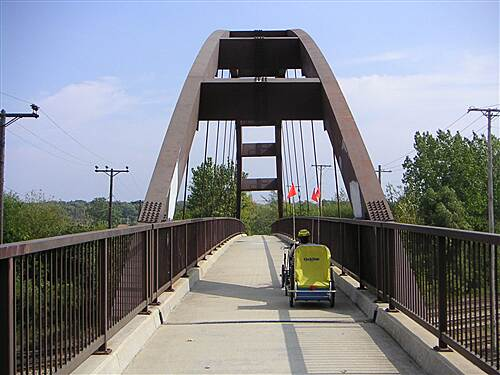 Illinois Prairie Path   Bridge over railroad on Geneva Spur of trail