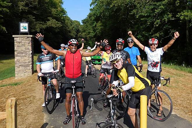 Indian Head Rail Trail IHRT Reopens! Happy Oxon Hill Bike Club members celebrate the reopening of the Indian Head Rail Trail 8/28/15