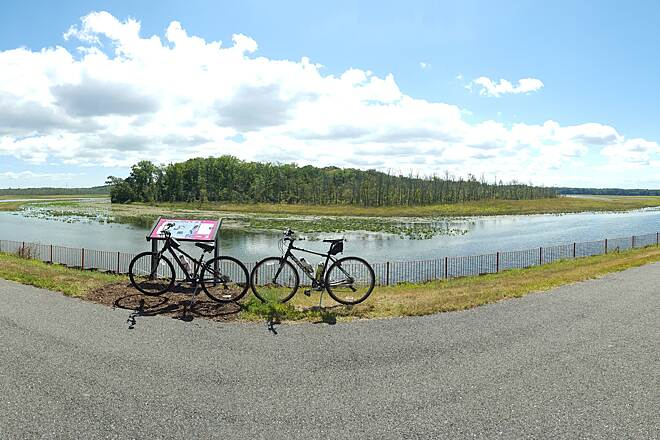 Indian Head Rail Trail Cannondale panorama This is near the Indian Head end of the trail.  There are some benches around here if you want to stop and look around.