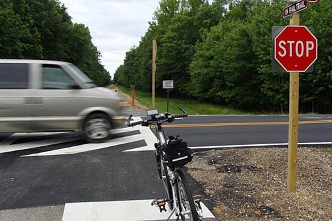 Indian Head Rail Trail Indian Head Rail Trail Rte. 227 crossing - cars drove very fast through here.  Phase 1 ends here.