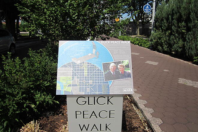Indianapolis Cultural Trail Glick Sign At a couple blocks long, the Glick Peace Walk is dedicated to those American luminaries of innovation and visionary ideas. The art installation was donated by locals Gene and Marilyn Glick.