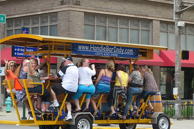 Indianapolis Cultural Trail Beer Wagon After your bike ride, hop aboard a different conveyance to explore downtown, fueled by more than just pedal power.