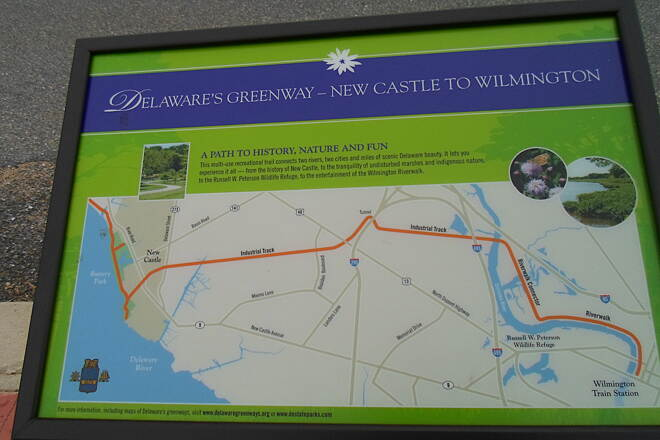Industrial Track Greenway Trail New Castle Industrial Track These signs, which can be found at several kiosks on both sections of the trail, show how it will form a link in a longer greenway that will eventually connect the south side of Wilmington with Battery Park in New Castle.