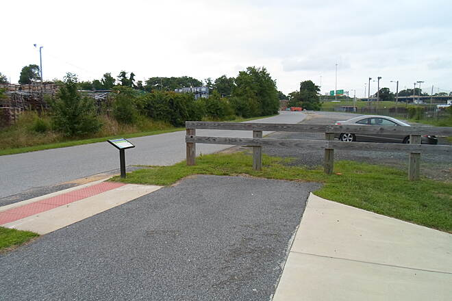 Industrial Track Greenway Trail New Castle Industrial Track Trailhead on the completed, southern segment north of Boulden Blvd. Taken August 2014.