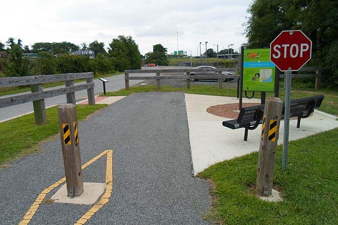 Industrial Track Greenway Trail New Castle Industrial Track Another view of the trailhead north of Boulden Blvd., on the completed, southern segment.