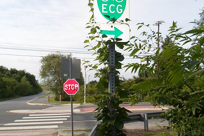 Industrial Track Greenway Trail New Castle Industrial Track This sign, located on the south side of the intersection with Boulden Blvd., designates the section of the trail from here south to New Castle as part of the East Coast Greenway, an ambitious 'mega-trail' project being built from Maine to Florida.