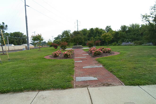 Industrial Track Greenway Trail New Castle Industrial Track Veterans' memorial at the trail's southernmost terminus immediately north of 8th St. in New Castle. It should be extended to Battery Park in the near future. Taken August 2014.