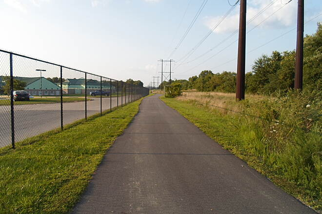 Industrial Track Greenway Trail New Castle Industrial Track The northern, completed section of the trail runs along the eastern perimeter of the Baylor Womens' Correctional Institution. Be alert for security guards; one let me by after I told him I was hiking on the trail.