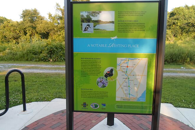 Industrial Track Greenway Trail New Castle Industrial Track Situated just north of the Baylor Womens' Correctional Institute, this kiosk interprets the history of a nearby Potters' Field. Taken August 2014.
