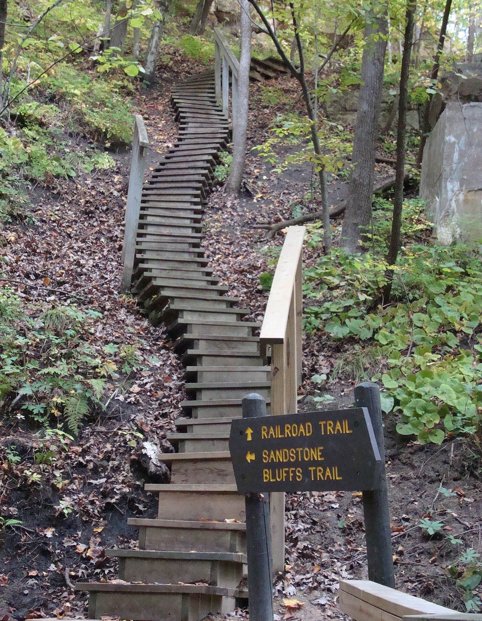 Interstate State Park to Taylors Falls Trail Southwest steps To replace the railroad bridge, these steps connect the trail to the State Park campground.