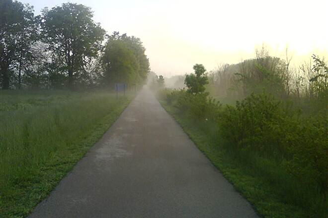 Interurban Trail (IL) 6am commute to work, heading North from Chatham A cold morning after a night of rain, about 48 degrees