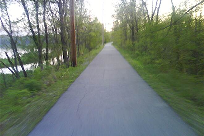 Interurban Trail (IL) Approaching Springfield Lake at the Bridge from the South Just North of Chatham, heading to work about 6am