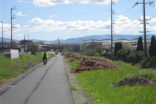Iron Horse Regional Trail South End of Trail Approching Dublin BART station and I-580