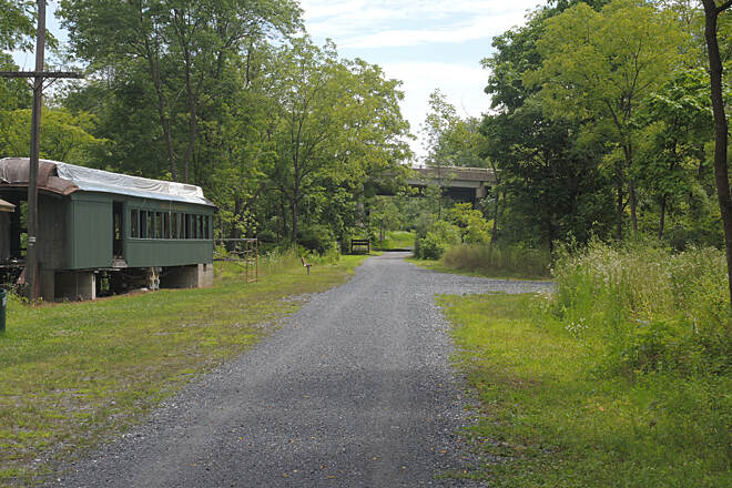 Ironton Rail-Trail Extension Spur Take extension off loop, and see old structures and railroad car.