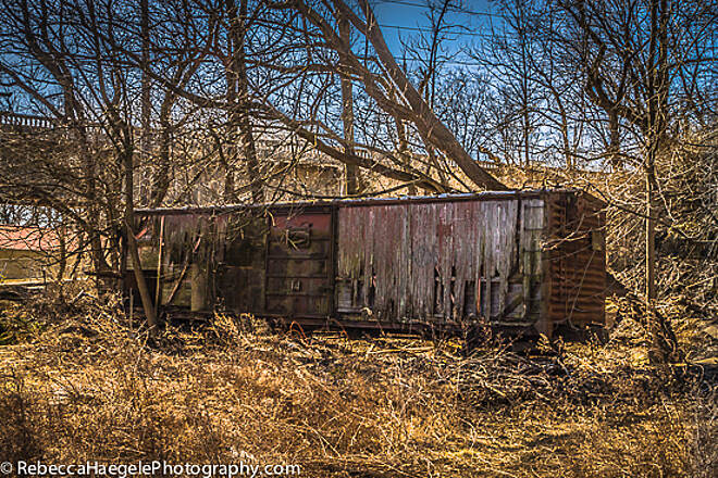Ironton Rail-Trail Abandoned Rail Car Along the Trail