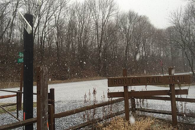 Ironton Rail-Trail trailhead first snowfall of 2015!