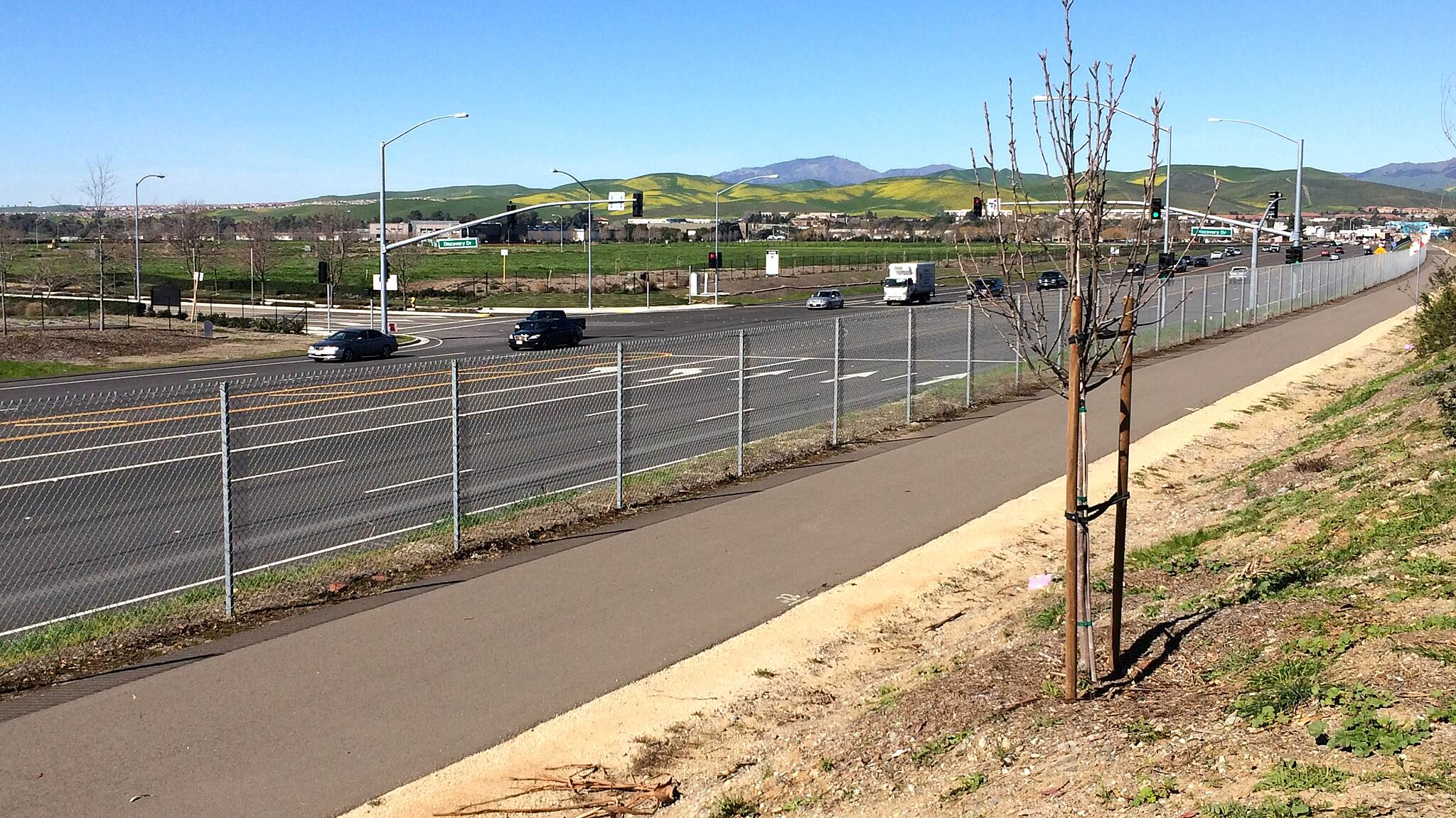 Isabel Avenue Trail Isabel Ave Trail This is looking north with Mt. Diablo in the distance. Newly paved and landscaped easy and very safe, only foot or bike traffic