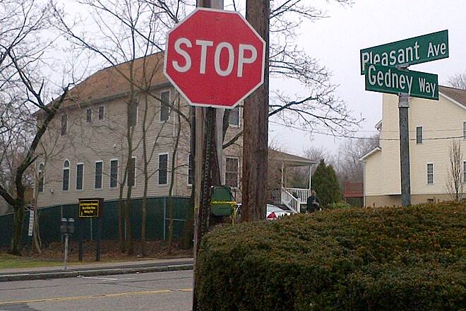 Jack Harrington White Plains Greenway Gedney Way entrance Gedney Way entrance at corner of Gedney Way and Pleasant Avenue in White Plains.