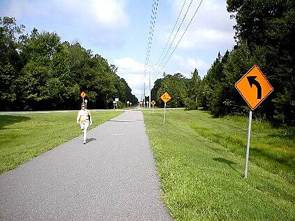 Jacksonville-Baldwin Rail-Trail Baldwin to Jacksonville Directional and safety signs are well-placed along the trail route.