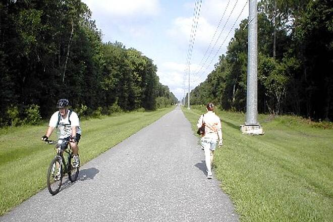 Jacksonville-Baldwin Rail-Trail Baldwin to Jacksonville The trail is popular with local walkers and bikers.