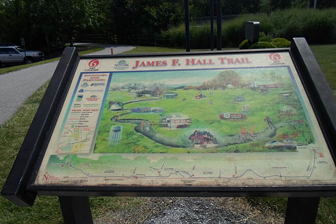 James F. Hall Trail James F. Hall Trail Colorful, artistic sign showing a map of the trail at the eastern terminus at the corner of Route 72 and Wyoming Road.