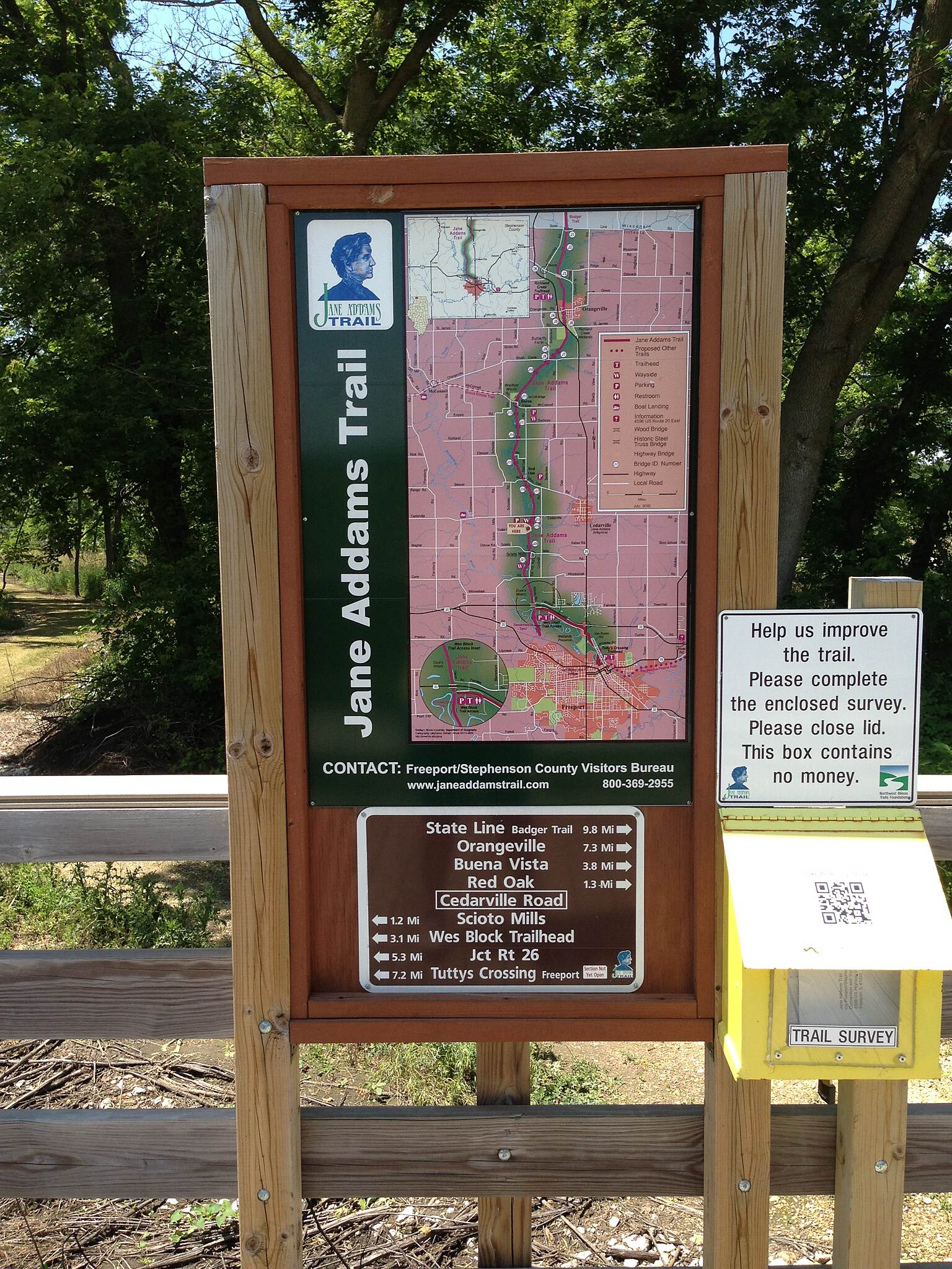 Jane Addams Trail At the trail head in Freeport