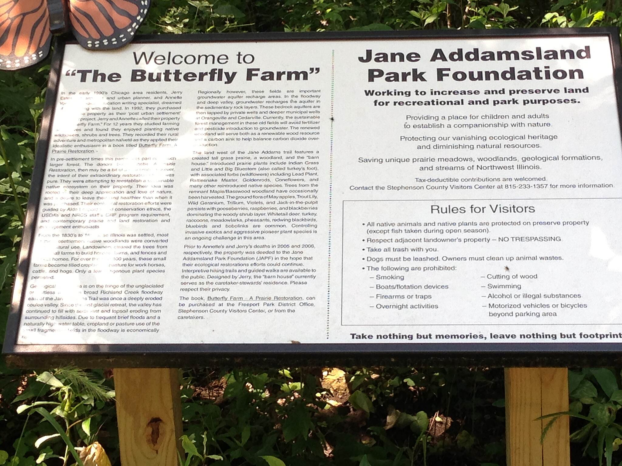 Jane Addams Trail Butterfly reserve.