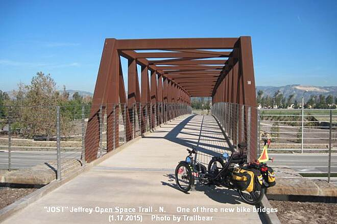 Jeffrey Open Space Trail JOSTNORTH - Trike on bridge Shackleton poses for a selfie.