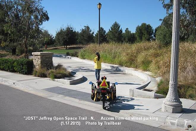 Jeffrey Open Space Trail JOST- NORTH - Access parking  On-street access parking and trail entrance