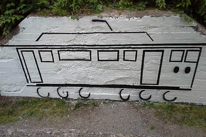 Jim Mayer Riverswalk Graffiti cover up  A year ago graffiti was all over the abutment on the old trolley bridge this was done last year by some Johnstown folks . its a trolley to symbolize what that bridge was built for.