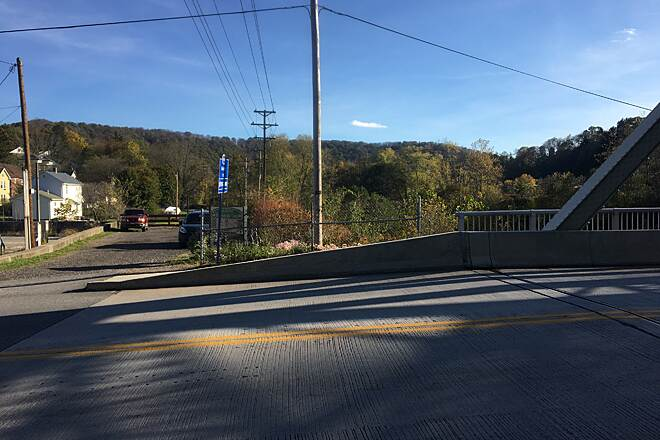 Jim Mayer Riverwalk Trailhead at Bridge Street Riverwalk trailhead at Bridge Street in Johnstown.  Crossing the bridge over the Stoney Creek River will put you in Ferndale.  28OCT16