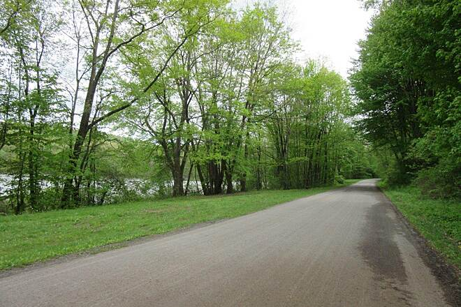 John C. Oliver Multi-Purpose Loop Trail Road portion There is a portion of the trail that is on the road through the park.  Very little traffic.