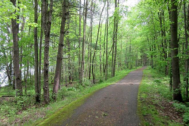John C. Oliver Multi-Purpose Loop Trail Along the trail Most of the trail is wooded