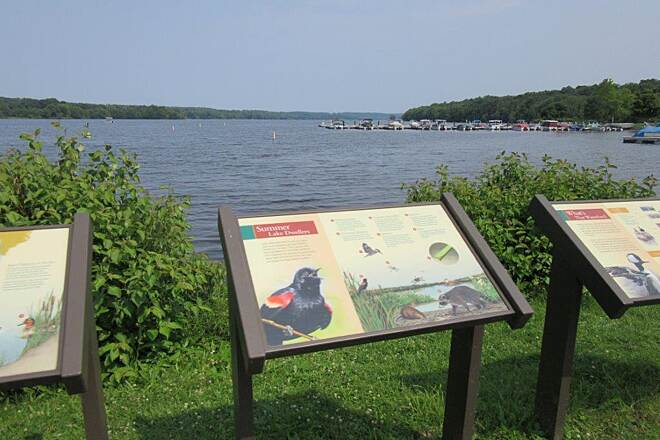 John C. Oliver Multi-Purpose Loop Trail Lake Wilhelm Trail at Lake Wilhelm in Goddard State Park-July 2015