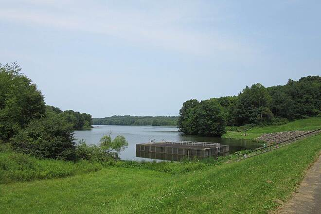 John C. Oliver Multi-Purpose Loop Trail Dam Dam at Lake Wilhelm, trail goes across the dam-July 2015