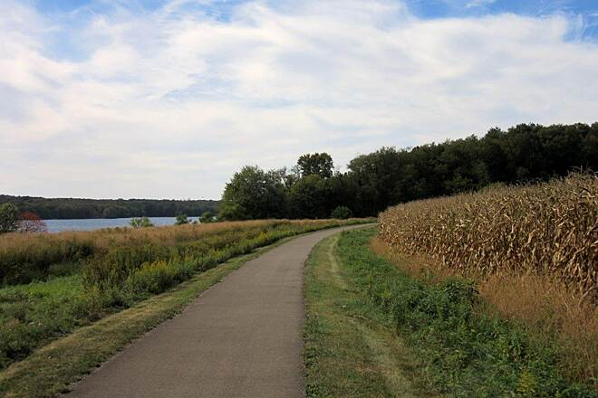 John C. Oliver Multi-Purpose Loop Trail Along the trail the lake, the trail,and some corn