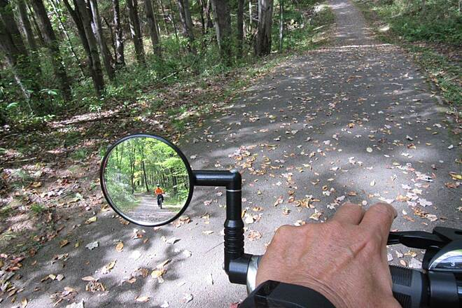 John C. Oliver Multi-Purpose Loop Trail Some leaves Some recently fallen leaves along the trail