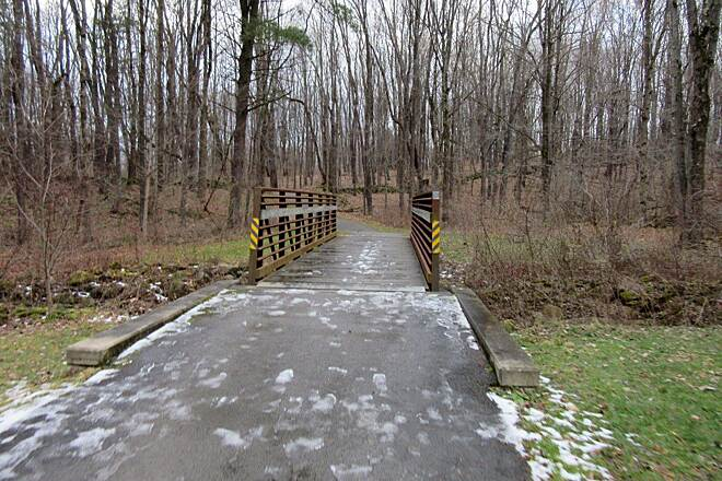 John C. Oliver Multi-Purpose Loop Trail Bridge a small ice/snowy section