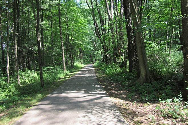 John C. Oliver Multi-Purpose Loop Trail Wooded area Wooded area of the trail.  The greenery is in full swing for the summer .