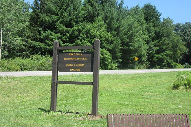 John C. Oliver Multi-Purpose Loop Trail New Sign New sign at the parking lot near the park office.  Parking for about 10 cars there.