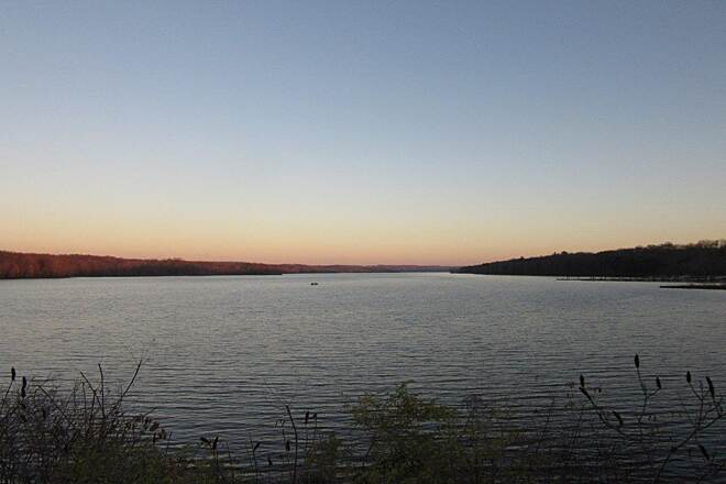 John C. Oliver Multi-Purpose Loop Trail Lake Wilhelm the lake at sunset , view from the causeway